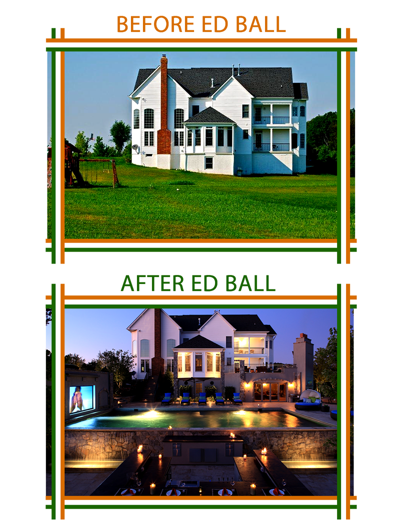 Before and After photos of Ed Ball Landscape Architecture work